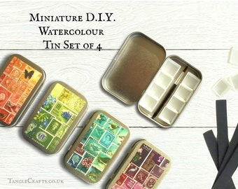 Set of 4 Mini DIY watercolour kits with hinged lid - art club supplies