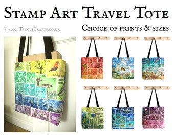 Stamp Art Travel Tote Bag - Small Medium & Large Sizes   postage stamp print fabric, world travel carry on, long handled lined shoulder bag