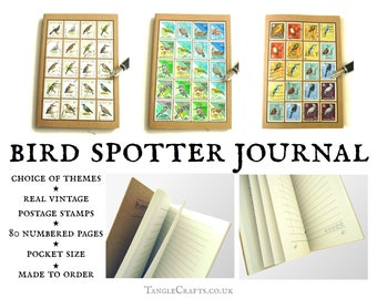 Birdwatching Journal, A6 notebook made with real vintage stamps