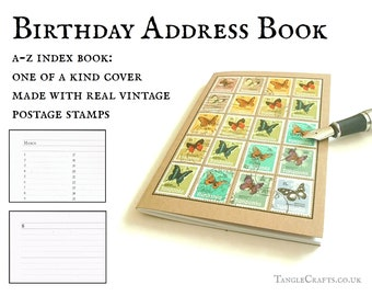 Rainbow butterfly birthday & address book • upcycled Tanzania postage stamps