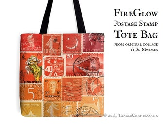 Fire Glow Tote Bag - Postage Stamp Print Shopper with Long Handles