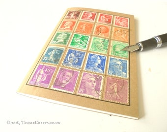 Vintage France Stamp Collection - Stamp Album-style Travel Notebook