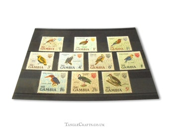 Vintage bird postage stamp set from Gambia, 1966