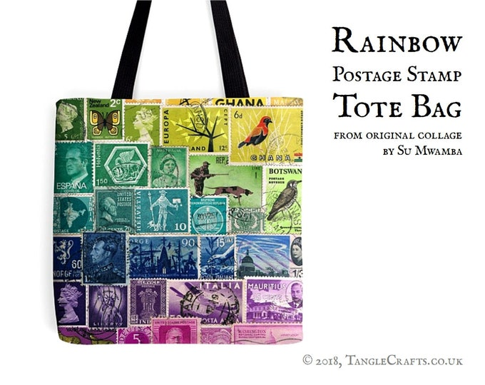 Featured listing image: Rainbow Tote Bag - Postage Stamp Print Shopper with Long Handles