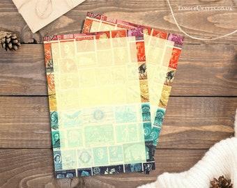 Letter Writing Set | Sunset Orange Blue Stationery Set | Postage Stamp Art, Eclectic Penpal Notepaper | Vintage Postal World Travel Note Set