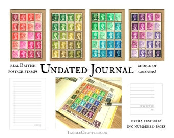 Colourful Machin Pocket Size Journal, made with Real British Stamps - choice of coloours