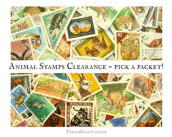 100+ Animals on postage stamps, 15g Wildlife Clearance Packet