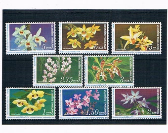 Orchid Postage Stamps from Thailand | beautiful flowers, vintage 1970s used postal stamp stock card | for collection collage upcycling craft