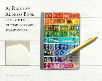 Rainbow birthday address book - upcycled vintage British postage stamps
