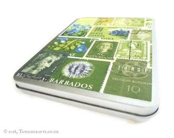 Spring Greens Storage Tin for A6 Stationery inc C6 envelopes