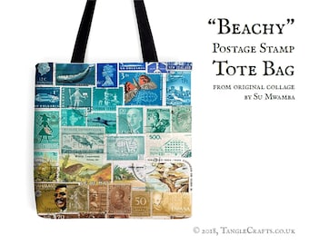 Postage Stamp Beach Bag - Postal Art Print   beach vacation, long handle tote - sea blue green, golden sand   quirky travel gift, fabric bag