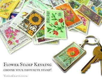 Flower Postage Stamp Keyring - choose your favourite