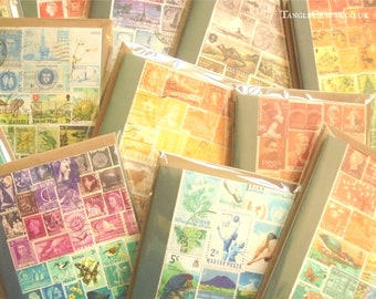 Mix & Match Postage Stamp Notecard Set • Boxed Stamp Art Print Cards