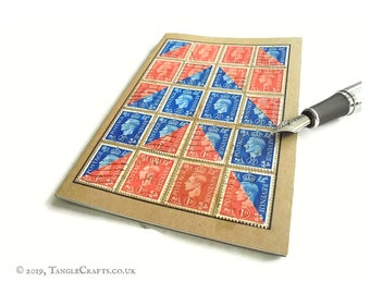 Airmail Arrow Postage Stamp Notebook made with Red & Blue King George VI stamps, circa 1941