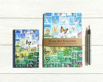 Happy Valley address book & writing paper set, postage stamp print landscape