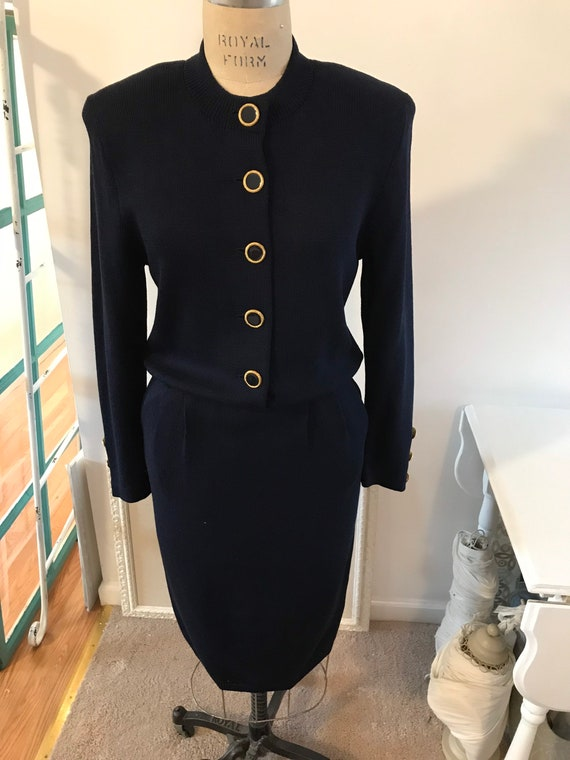 St John navy knit dress, Vintage Dresses, Vintage