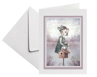 Woodpecker greeting card | All Occasion card | Art card | Woodpecker card | Card to frame | Blank card | Notecard | Keepsake
