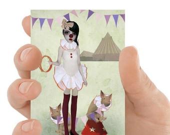 ACEO Card | Clown Girl ACEO Card | Clown Girl & Piglets | ACEO Print | Piglet Parade
