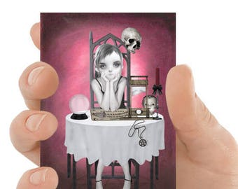 ACEO Card | Gothic Aceo Card | Clairvoyant | Goth Girl Art | Artist Trading Card | The Girl Next Door