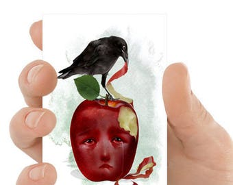 ACEO Card | Blackbird & Apple | Artist Trading Card | ACEO Print | ATC | An Apple A Day