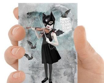Bat girl Artist trading card | ACEO | Batgirl and bats | ATC | Art card | Lowbrow miniature art