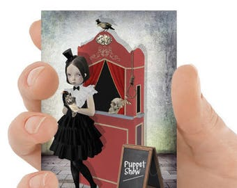 ACEO Card | Puppet Show ACEO Card | Girl & Puppets | Artist Trading Card | The Show Must Go On