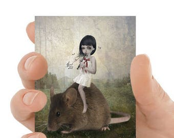 Pied Piper | ATC | ACEO | Fairytale | Girl And Mouse | Artist Trading Card | Fairy Tale |