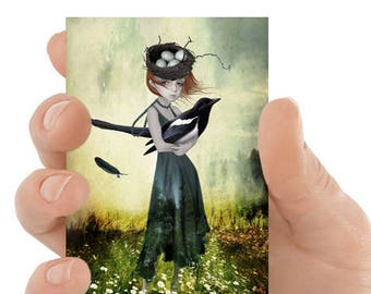 ACEO print   Girl & magpie   Artist trading card   Miniature art   Lowbrow Pop surrealism   Bird art card   One For Sorrow