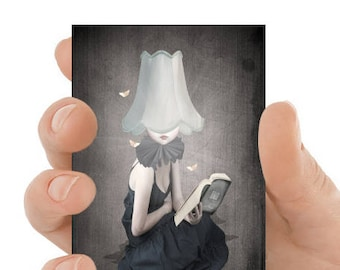 Surreal art | Artist trading card | Girl & moths | Art gift | ACEO print | Miniature art | Art card | Collectable art | Card and sleeve