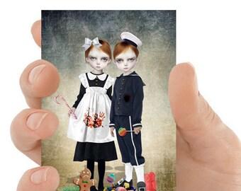 ACEO ATC Card | Fairytale Hansel and Gretel | Artist Trading Card | Miniature Print | Fairytale gift