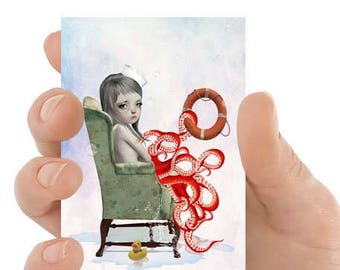 Artist trading card | Girl and tentacles | ACEO, ATC | Big eye art | Tentacles art | Big eyes | Octopus girl
