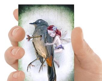ACEO Card | Melancholy Art | Fairy & Bird | Miniature Art | Fairy ACEO Print | Artist Trading Card | Last Breath