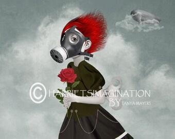 Steampunk art | Gas mask girl & rose | A4 print | Apocalyptic | Steampunk decor | Wall art | Post apocalyptic