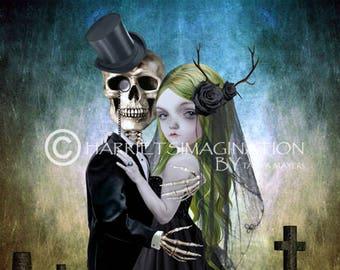 Eternal Love   Skeleton Groom And Bride   Gothic Wedding   Goth Wedding Gift   Skeleton Love Art