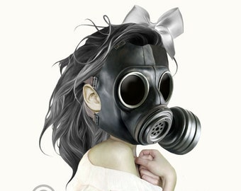 Gas mask girl art print | Girl & gas mask | Creepy cute wall art | Digital art | Home decor