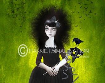 Masquerade art | Masquerade ball | Blackbirds Wall art | Lady In Black | Masquerade Print | Bird home decor | Blackbird gift | Bird artwork