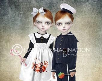 Fairytale art print | Hansel & Gretel | Creepy cute wall art | A4 Art print | Fairytale home decor