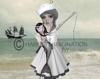 Sailor Girl Art Print   Mermaid Print   Lowbrow Art   Big Eyes Art   Sailor Girl Holding Mermaid   Found Not Forgotten