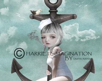 Nautical art print | Sailor and anchor | Home decor | Wall art | Big Eyes | Sailor girl | Anchor art | Digital painting