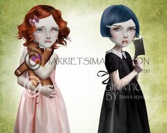 Gingerbread men | Lowbrow art | Wall decor | Creepy cute | Big eyes girl art | Pop surrealism print | Digital art print | Gingerbread Man