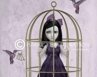 Hummingbird art print | Girl in birdcage | Home decor | Pop surrealism art | Hummingbirds | Wall art print |  Popsurreal | Birds & birdcage