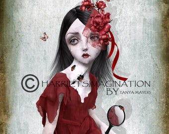 Pop Surreal | Pop Surrealism Art Print | Big Eyes Art | Broken Girl | A4 Art Print | Girl Staring at reflection | Porcelain