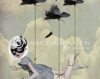 Pop surrealism art print | Flying Girl & Birds | Big Eyes Art | Pop Surreal Art | Flying Girl Art Print | Bird Art | Along For The Ride