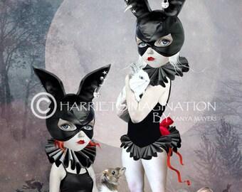 Pop surrealism Art Print | Rabbits Art Print | Masked Girls Art | Rabbit Girls | Art Print | Pop Surreal Art | Wall Art | Rabbit Rendezvous