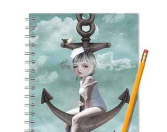 A5 Notebook | Writing Journal | Sailor girl & anchor | Sketchbook | Spiral notebook | Journal notebook | Travel Journal