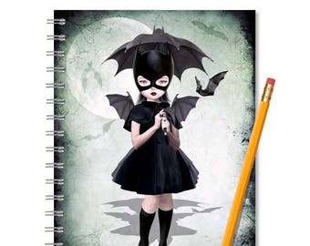 Batgirl | Notebook And Journal | Lined Or Blank | Handmade Book | Spiral Notebook | Blank Journal | A5 book | Lined Sketch Book |