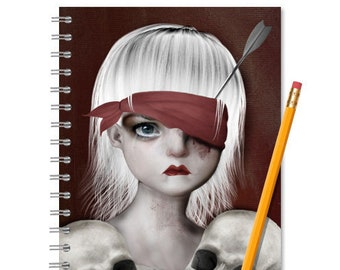 Gothic notebook | Girl and skulls | Sketchbook | Gothic Journal | Spiral notebook A5 | Journal notebook | Lined or blank pages