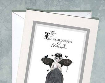 The world is full of fallen angels   Art Quote Card   Blank Card   Angel Quote  