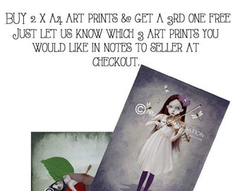 Buy 2 x A4 art prints & Get a 3rd FREE | A4 print offer | 3rd one free | Choose 3 art prints and let us know which titles you would like