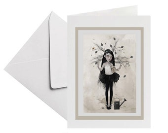 Blank card | Dreaming girl | Greeting card | Tree girl | Keepsake | Surreal art card | Card with envelope | Surreal Birthday card